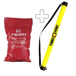 Team W Trainer 96 Tennisbälle plus Ballsammelröhre
