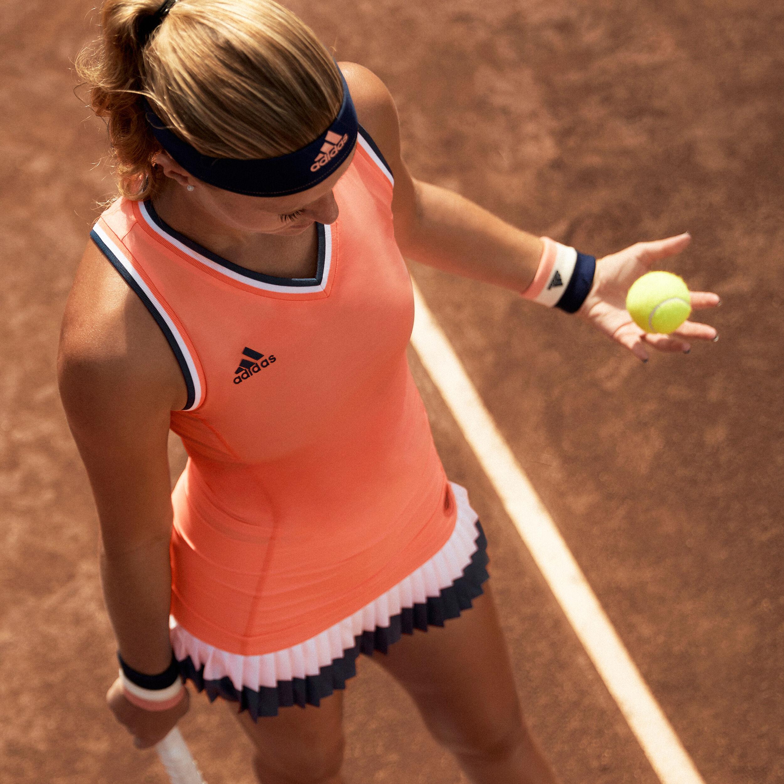 Polo ramasseuses manches courtes en polyester Adidas Roland Garros fille corail