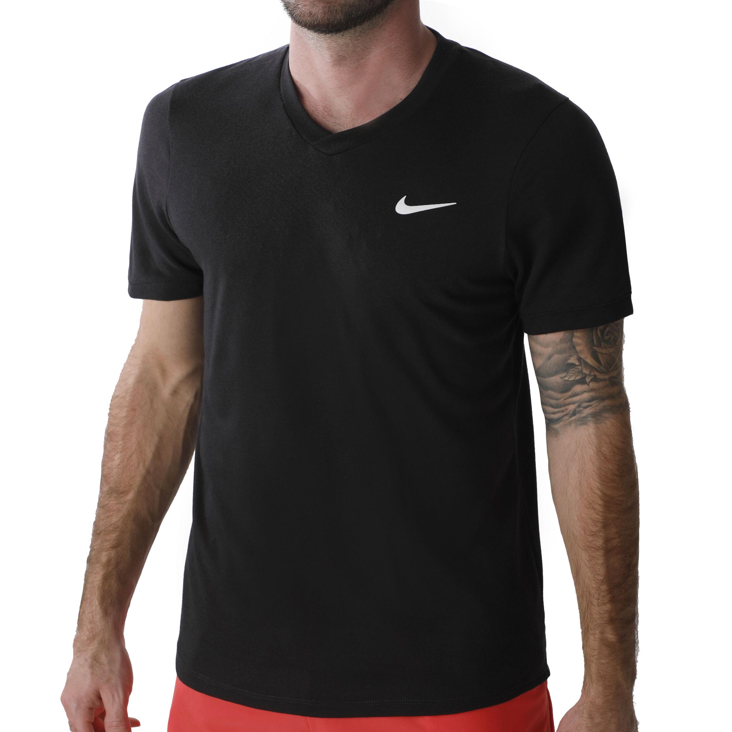 Nike Court Dry Challenger T shirt Hommes Noir , Blanc