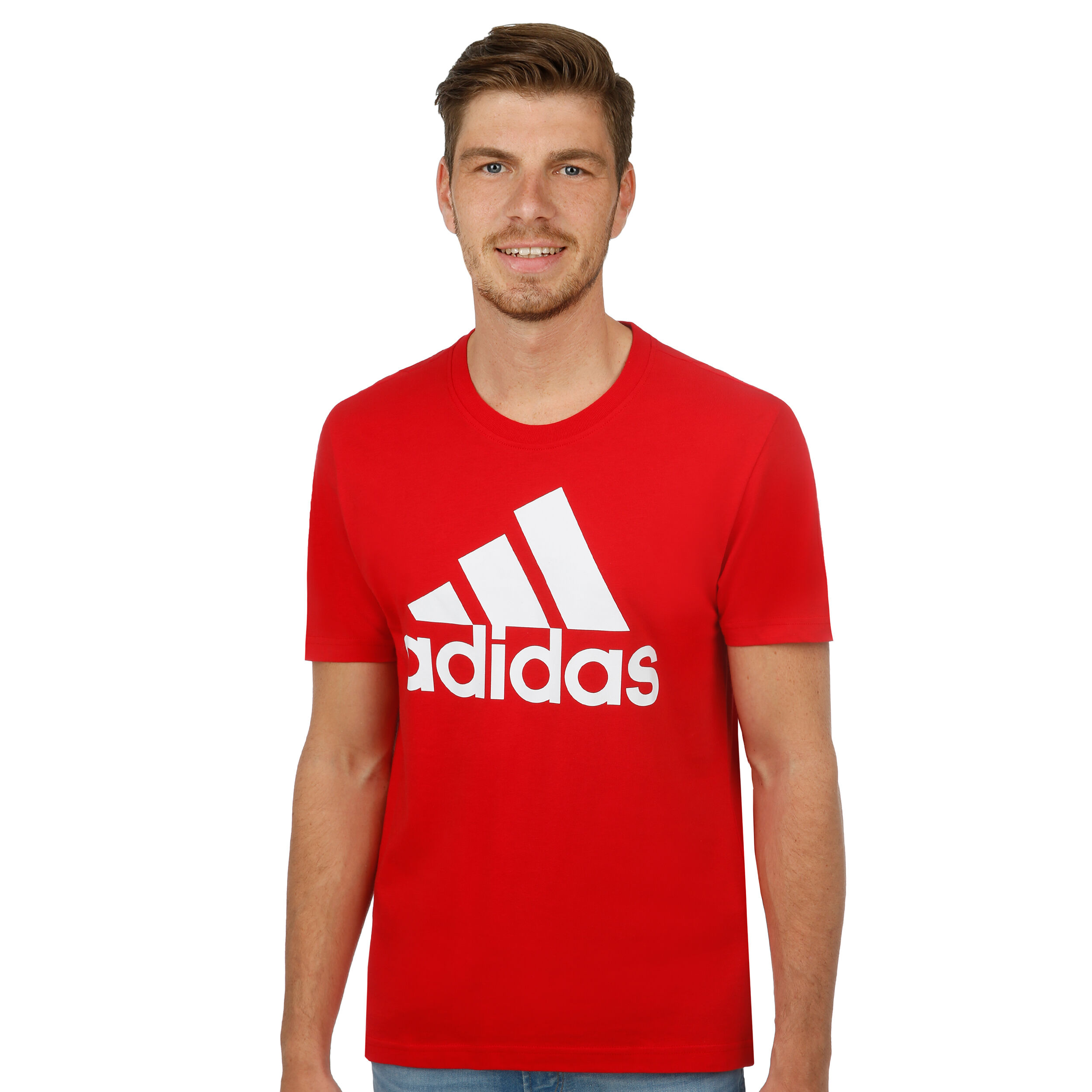 adidas Essentials Linear T shirt Hommes Rouge , Blanc