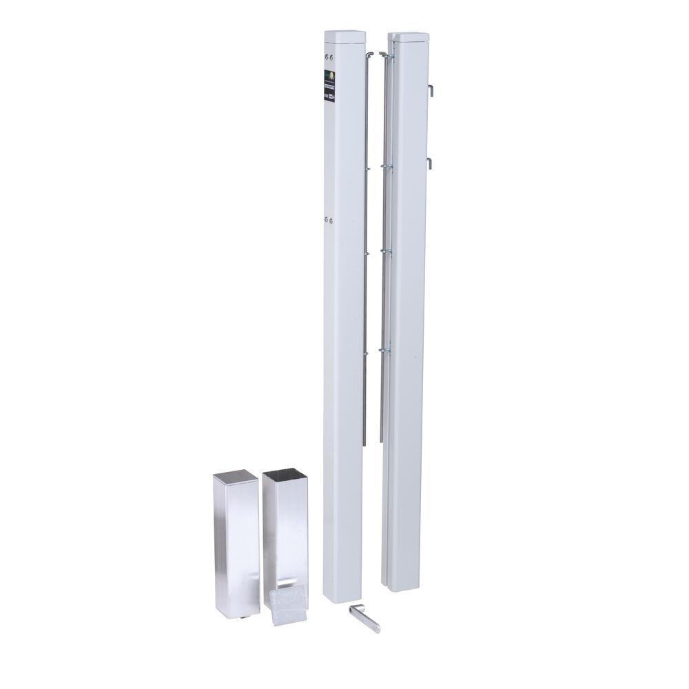 Tegra ASS Poteau Pour Filet Aluminium, Tube Carré - Blanc