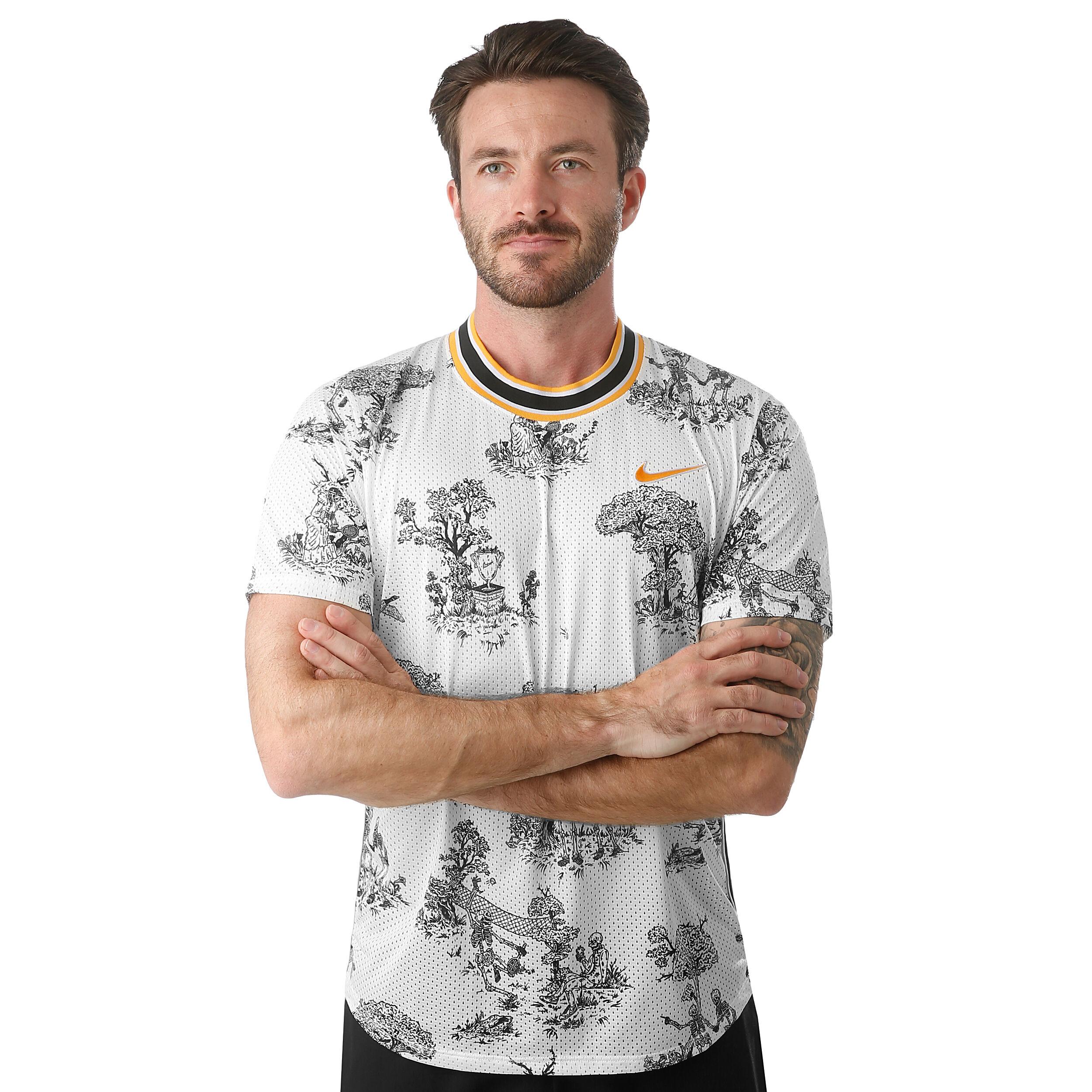 Nike Court Challenger Dri Fit T shirt Hommes Crème , Noir