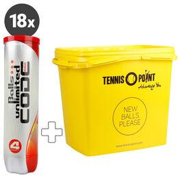 18x Code Red 4er plus Tennis-Point Balleimer