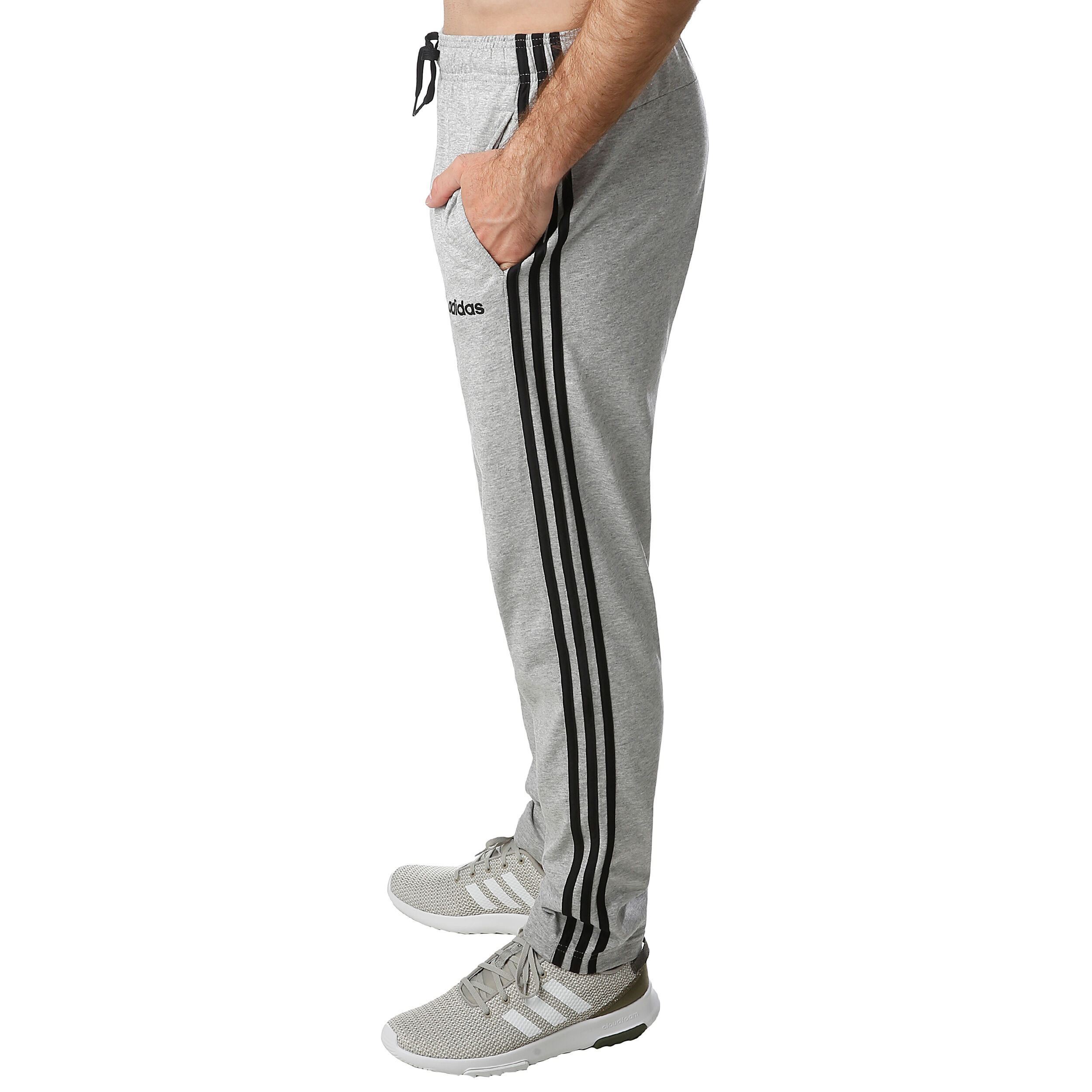 adidas Essentials 3 Stripes Open Hem Single Jersey Tapered